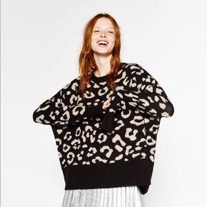 ZARA Leopard Jacquard Sweater, size S